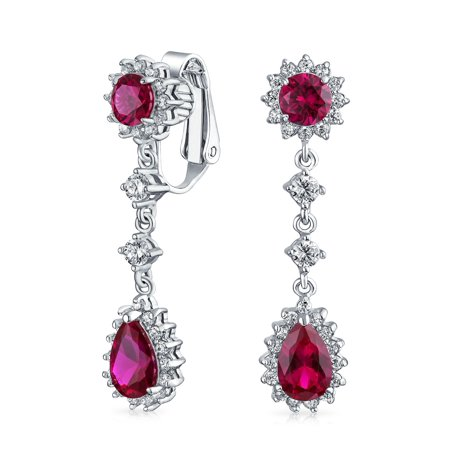- Teardrop CZ Crown Clip On Dangle Chandelier Earring Cubic Zirconia Rhodium Plated Brass (More Colors Available)