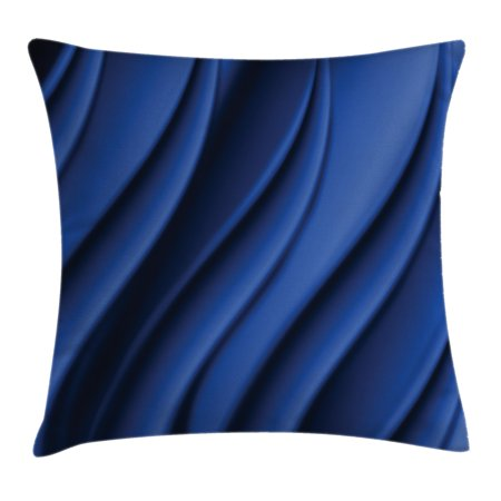 Navy Blue Decor Throw Pillow Cushion Cover, Ocean Wave Inspired Design with Digital Reflection Abstract Artwork, Decorative Square Accent Pillow Case, 18 X 18 Inches, Dark Metallic Blue, by