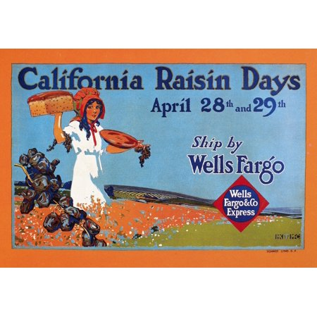 Wells Fargo Express 1918Nbanner For Wells Fargo   Co Express Promoting California Raisin Days 1918 Poster Print By Granger Collection