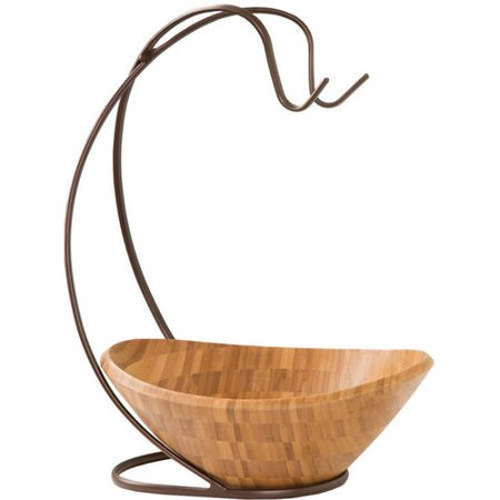 - Seville Classics Fruit Tree with Banana Hook and Large Wavy Bamboo Bowl