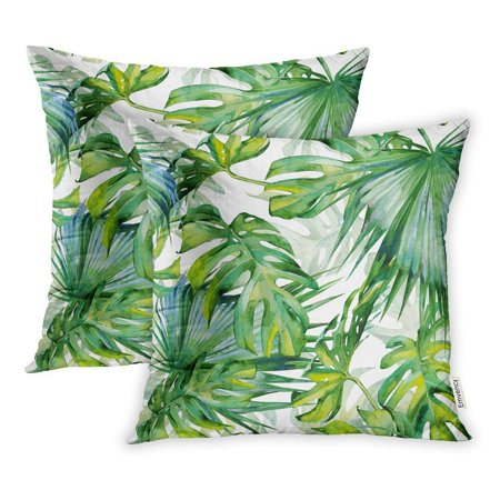 BSDHOME Watercolor of Tropical Leaves Dense Jungle Hand Tropic Summertime Pillowcase Cushion Cases 16x16 inch Set of 2 - image 1 of 1