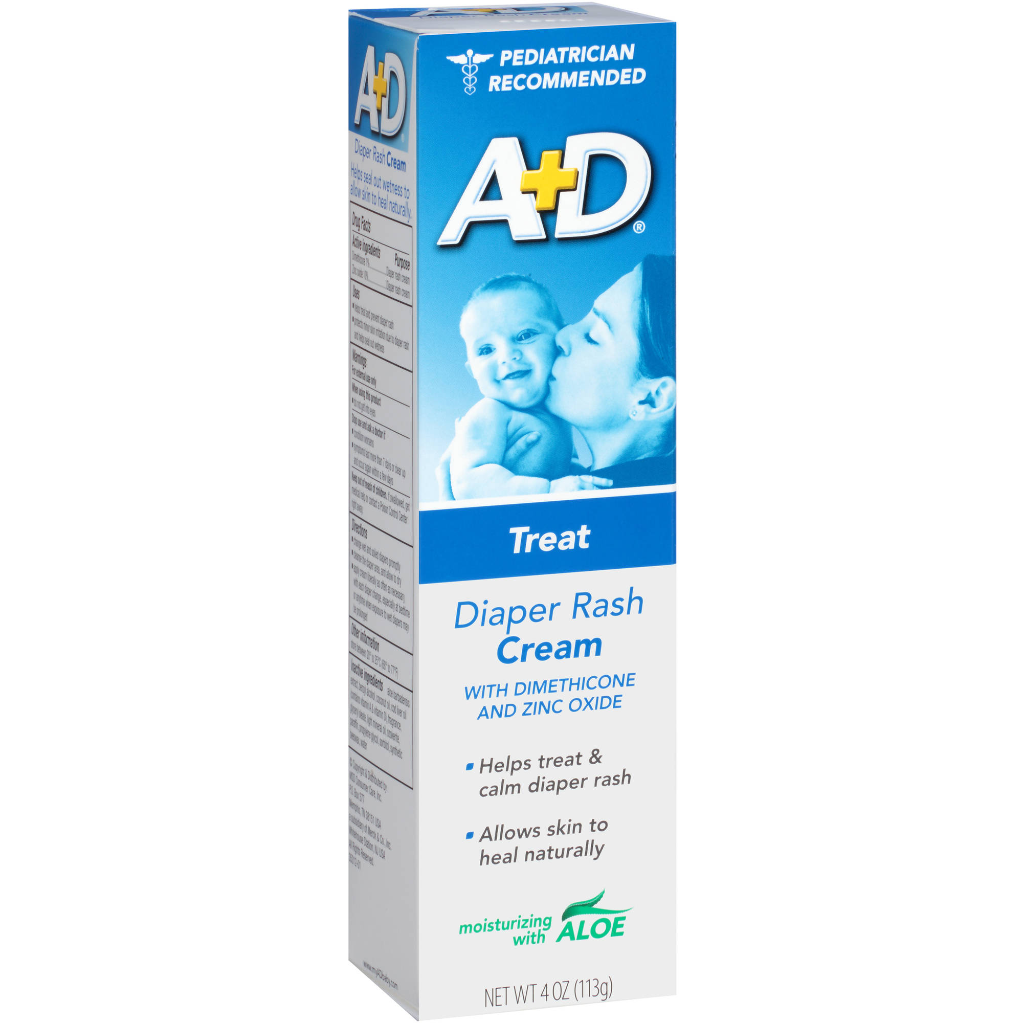 A+D: Diaper Rash Cream W/ Aloe Zinc Oxide Cream, 4 oz