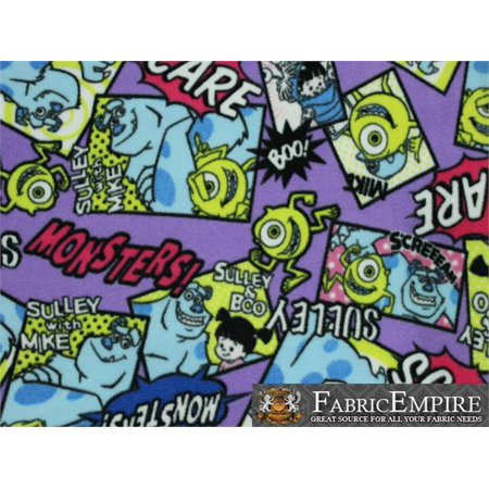 Fleece Fabric Printed ANTI PILL MONSTER INC SULLEY AND BOO PURPLE BACKGROUND LICENSED