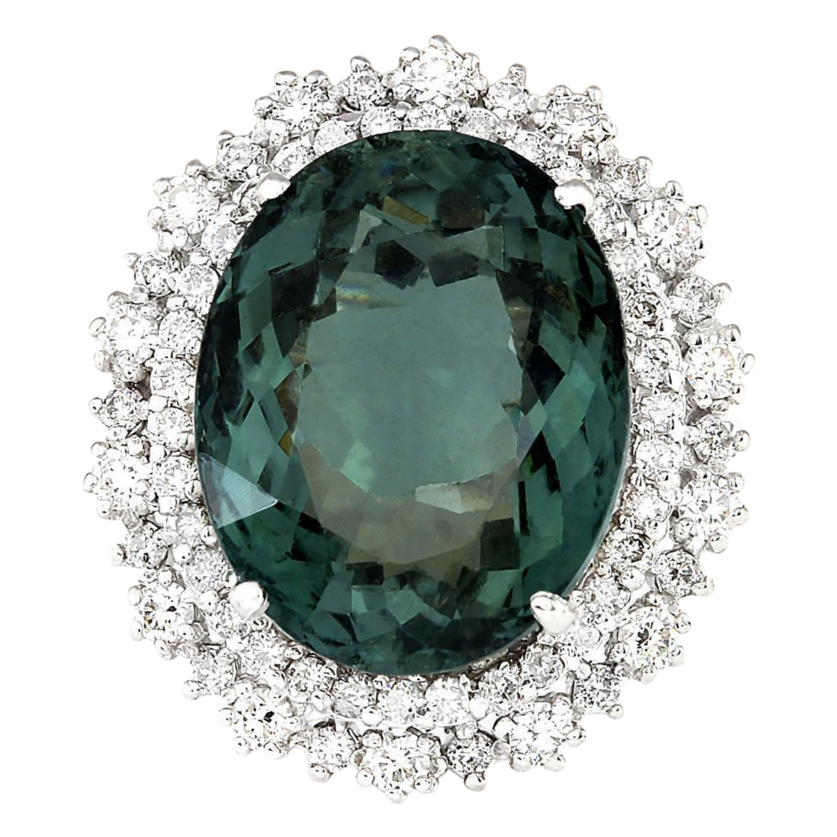 19.90 CTW Natural Green Tourmaline And Diamond Ring 14k Solid White Gold by