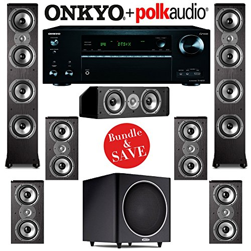 Polk Audio TSi 500 7.1 Home Theater Speaker System with Onkyo TX-NR757 7.2-Ch Network AV Receiver by Polk Audio