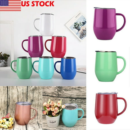 Coffee Mug Double Wall Stainless Steel Cup Travel Tea Insulated Tumbler Thermos White Double Egg Cup