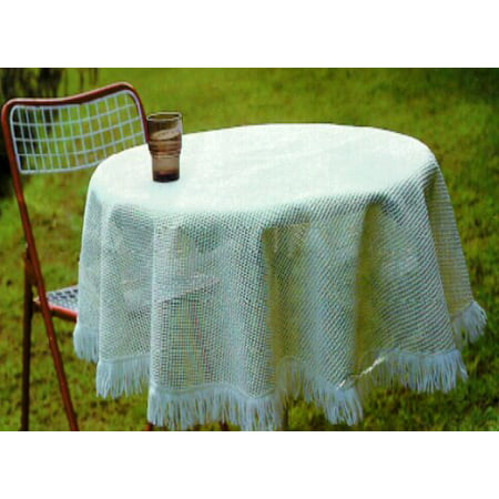 Tablecloth, Patio, Indoor or Outdoor, Crochet Non-skid Vinyl, 60 Inches Round, Cream, Fringe, Weather and Stain Resistant (Patio Table Tablecloth)