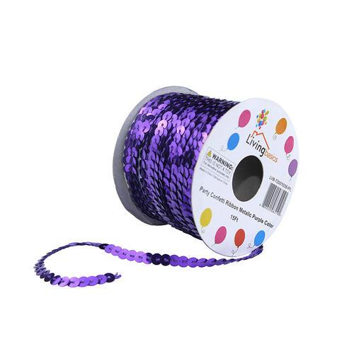 LIVINGbasics™ Party Confetti Ribbon Metallic Color 15Ft - Purple - image 1 de 2