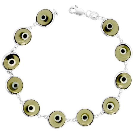 Sterling Silver Evil Eye Bracelet Clear Brown, 7