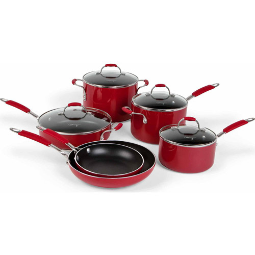 Cooking with Calphalon Enamel Nonstick 10 Piece Cookware Set, Red