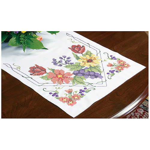 "Dimensions ""Flowers and Berries"" Table Runner Stamped Cross Stitch, 15"" x 44"""
