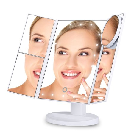 Ovonni Vanity Mkp Mirror Trifold 22 LED Lighted with Touch Screen, 2x/3x Magnification and 10x Magnifying Spot, Foldable 180°Adjustable Stand for Countertop Bathroom (Vanity Mirror With Lights)