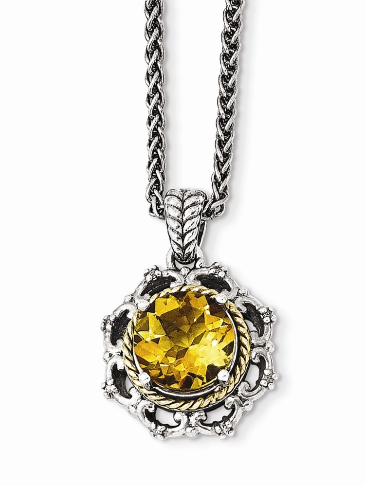 Sterling Silver With 14k Antiqued Citrine and Diamond Necklace .04 dwt 3.30 cwt by Jewelryweb