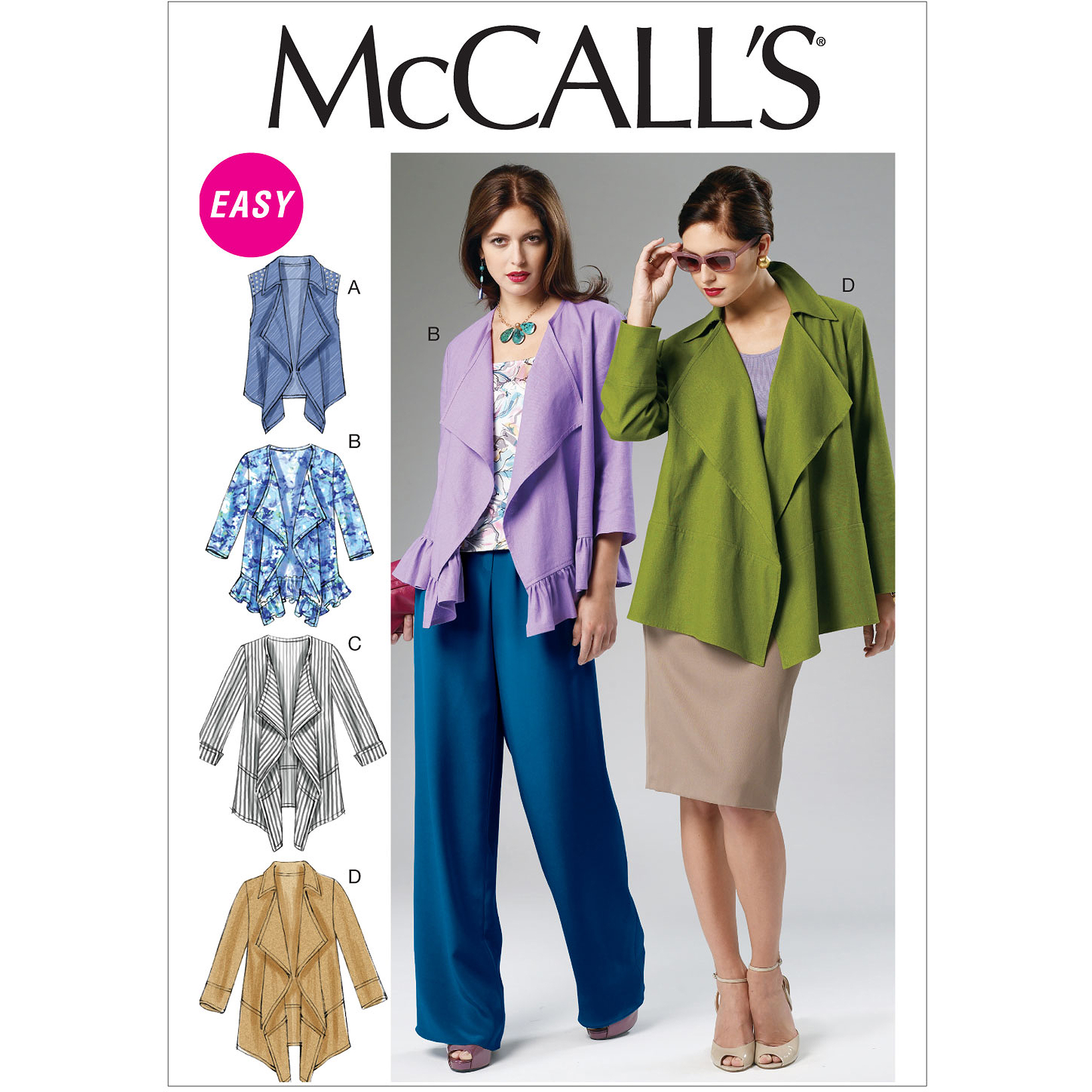 McCall's Pattern Misses' Unlined Vest and Jackets, ZZ (L, XL, XXL)