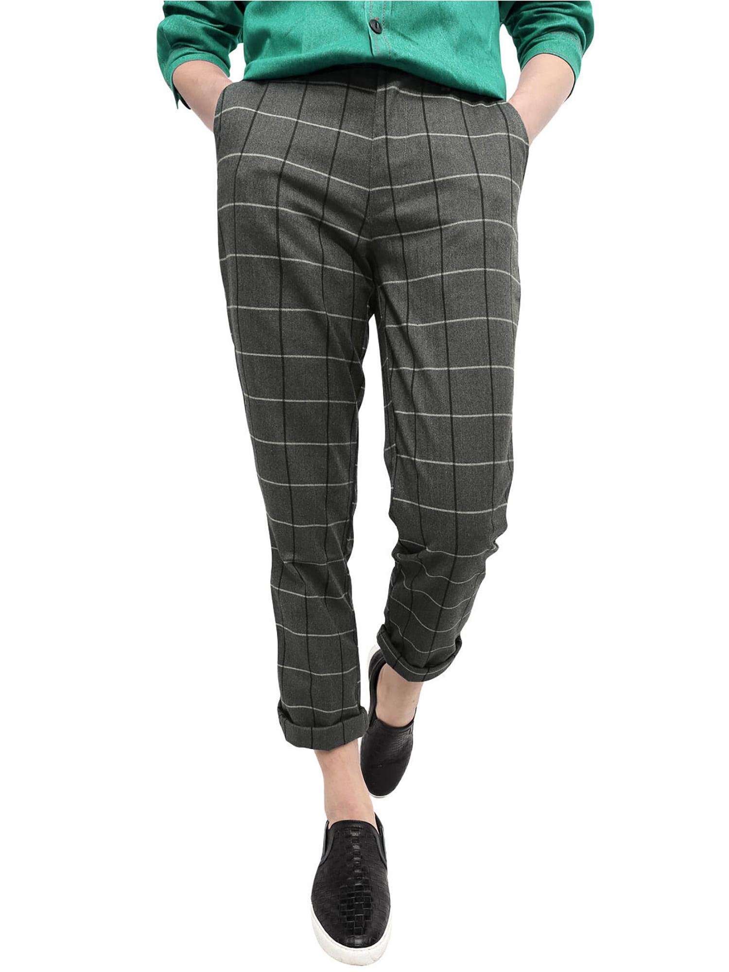 Men's Mid Rise Checks Print Front Pockets Slim Fit Casual Pants