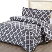 Utopia Bedding Printed Comforter Set (Full, Grey) with 2 Pillow Shams - Luxurious Brushed Microfiber - Down Alternative Comforter - Soft and Comfortable - Machine Washable