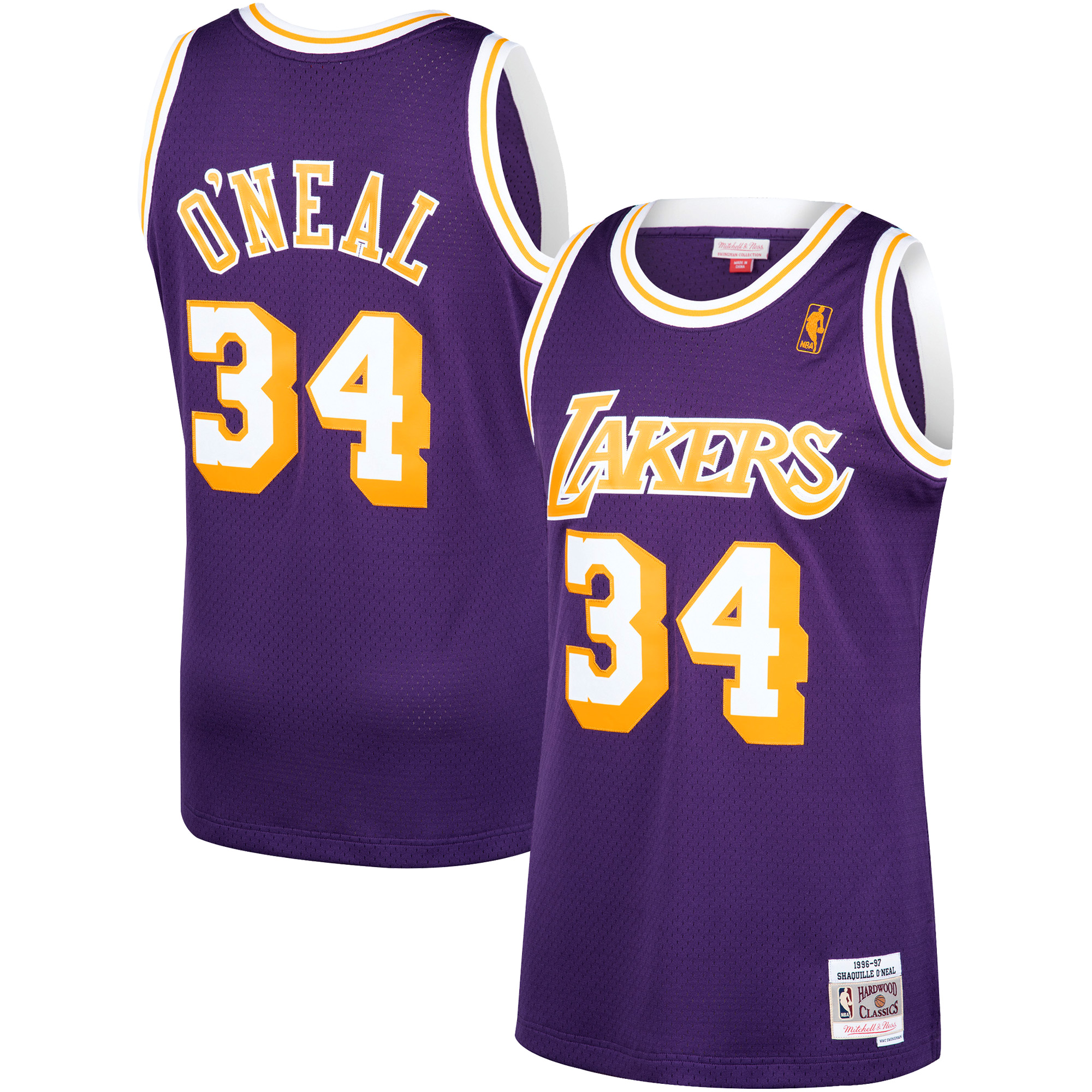 Shaquille O'Neal Los Angeles Lakers Mitchell & Ness 1996-97 Hardwood Classics Swingman Jersey - Purple