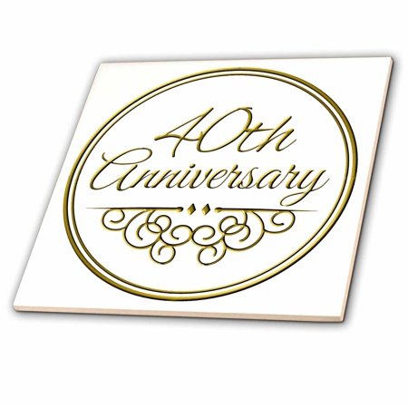 3dRose 40th Anniversary gift - gold text for celebrating wedding anniversaries - 40 years married together - Ceramic Tile, 4-inch - Walmart.com