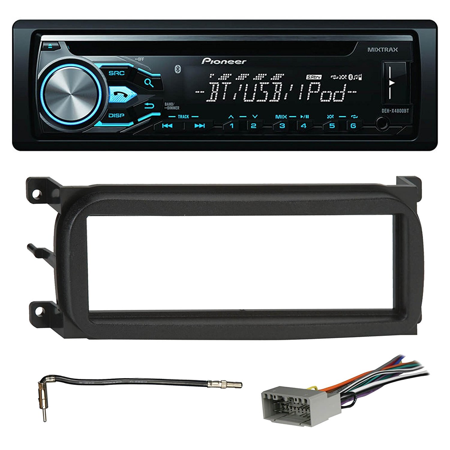pioneer deh x4800bt bluetooth in dash cd car stereo audio receiver bundle combo w metra 996503