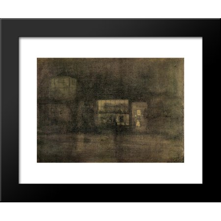 Nocturne Black and Gold - The Rag Shop, Chelsea 20x24 Framed Art Print by James McNeill Whistler Chelsea Gold Music Box