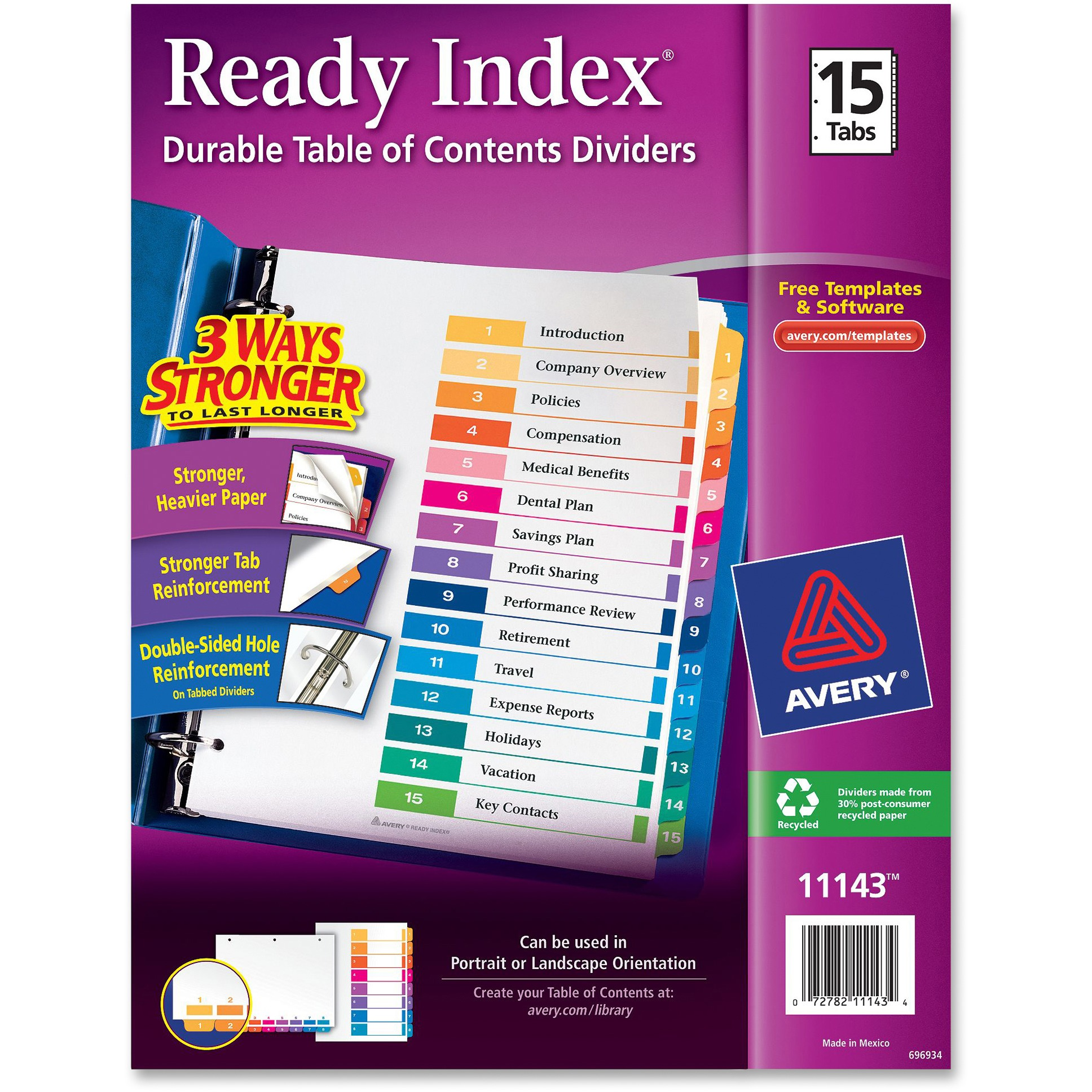 Avery Ready Index Customizable Table of Contents Dividers, Multicolor, 15 Count