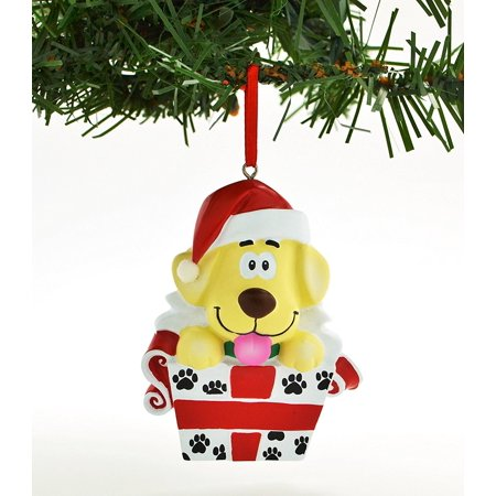 Pets Dog Puppy in Box Yellow Personalized Christmas Ornament DO-IT-YOURSELF
