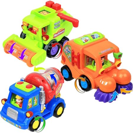 - Click N' Play Set of 3 Assorted Bright Colored Friction Powered Car Toys for Kids, Cement Truck, Street Sweeper and Harvester Truck.