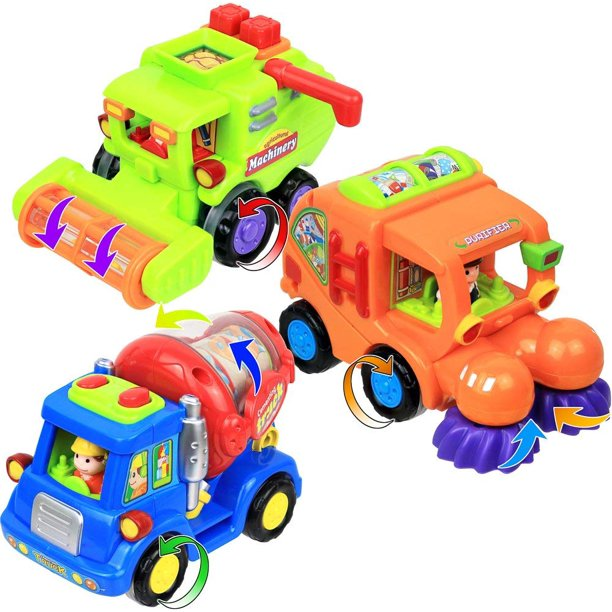 Click N' Play Set of 3 Assorted Bright Colored Friction Powered Car Toys for Kids, Cement Truck, Street Sweeper and Harvester Truck.