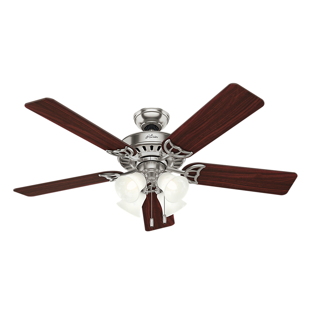 "Hunter 52"" Studio Series Brushed Nickel Ceiling Fan with Light"