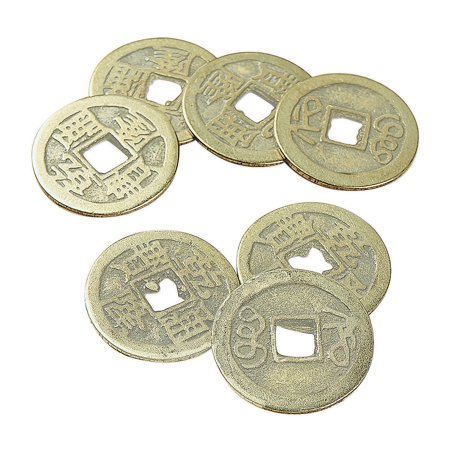 Fun Express - 20mm Ant. Goldtone Old Chinese Coin - Craft Supplies - Adult Beading - Charms - 12 Pieces