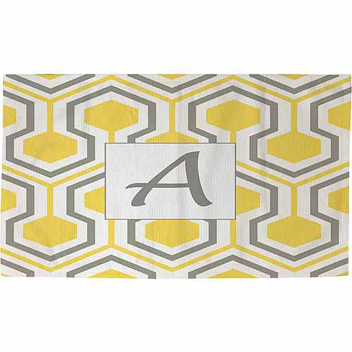 Thumbprintz Honeycomb Monogram Rug, Yellow