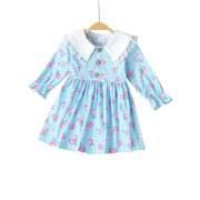 Anmino Toddler Baby Girl Clothes Cherry Printed Long Sleeve Lace Collar Dress