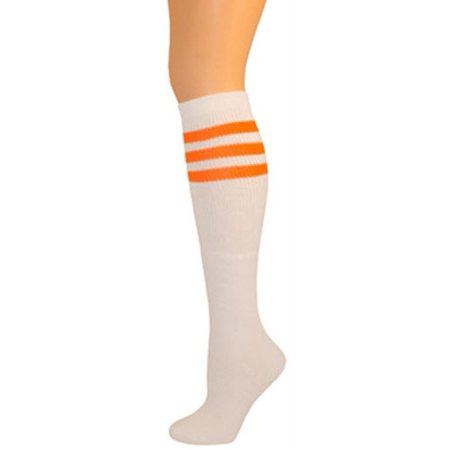 Retro Tube Socks - White w/ Neon Orange (Knee - Neon Knee High Socks