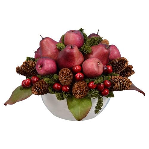 Fantastic Craft 15'' Pear Cherry Pine Fruit Bowl