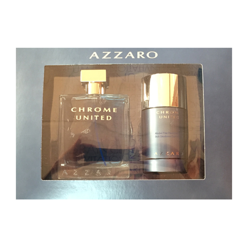 CHROME UNITED MEN 2 PIECE GIFT SET - 3.4 OZ EAU DE TOILETTE SPRAY by AZZARO