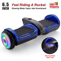 6.5'' Bluetooth Rocket Hoverboard with Glowing Water Vapor Jets , Space Sound Effect & LED Flash Wheel Blue