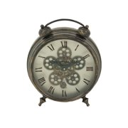 Decmode Rustic 18 X 15 Inch Round Iron Vintage Gear Design Table Clock