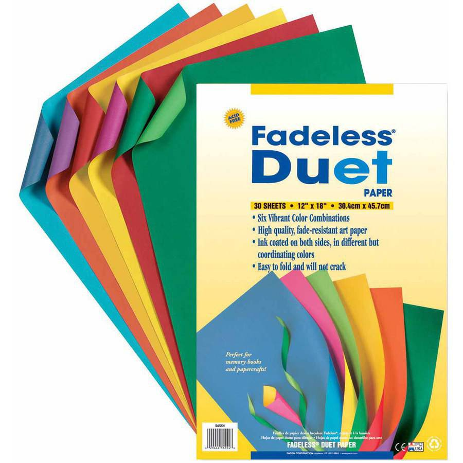 "Pacon Fadeless Duet Paper, 12"" x 18"", Assorted Colors, Pack of 30"