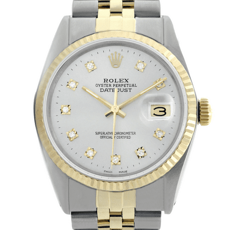 Rolex Men's Datejust 16013 36mm Watch Two-Tone Silver Diamond Dial Fluted Bezel