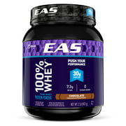 EAS 100% Pure Whey Protein Powder, 30 grams of protein, Chocolate, 2 lb (Pack of 4)