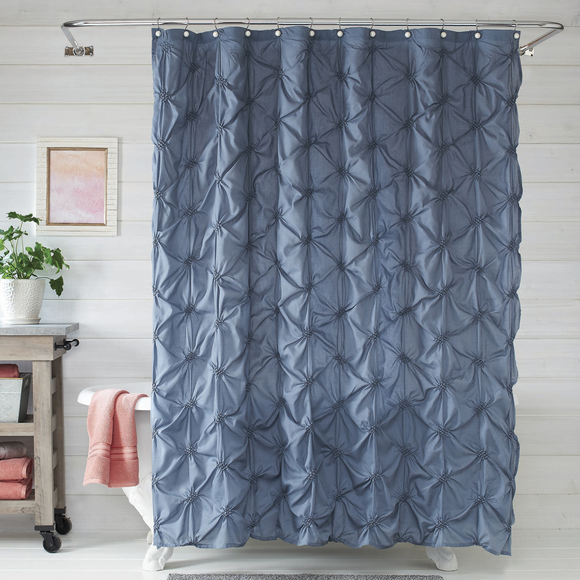 Better Homes And Gardens Pintuck Pearl Shower Curtain And Hook Set