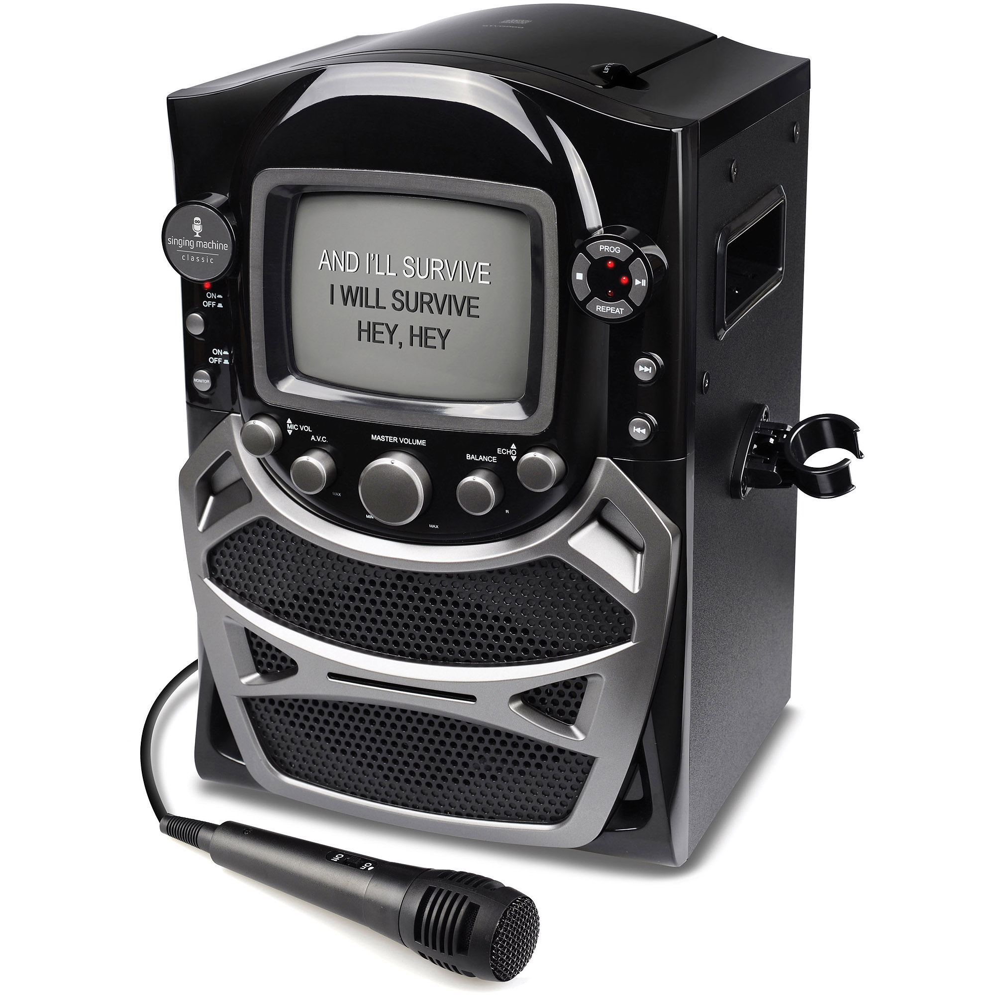 "Singing Machine CD G Karaoke System with Built-in 5.5"" B&W CRT Monitor and Microphone"