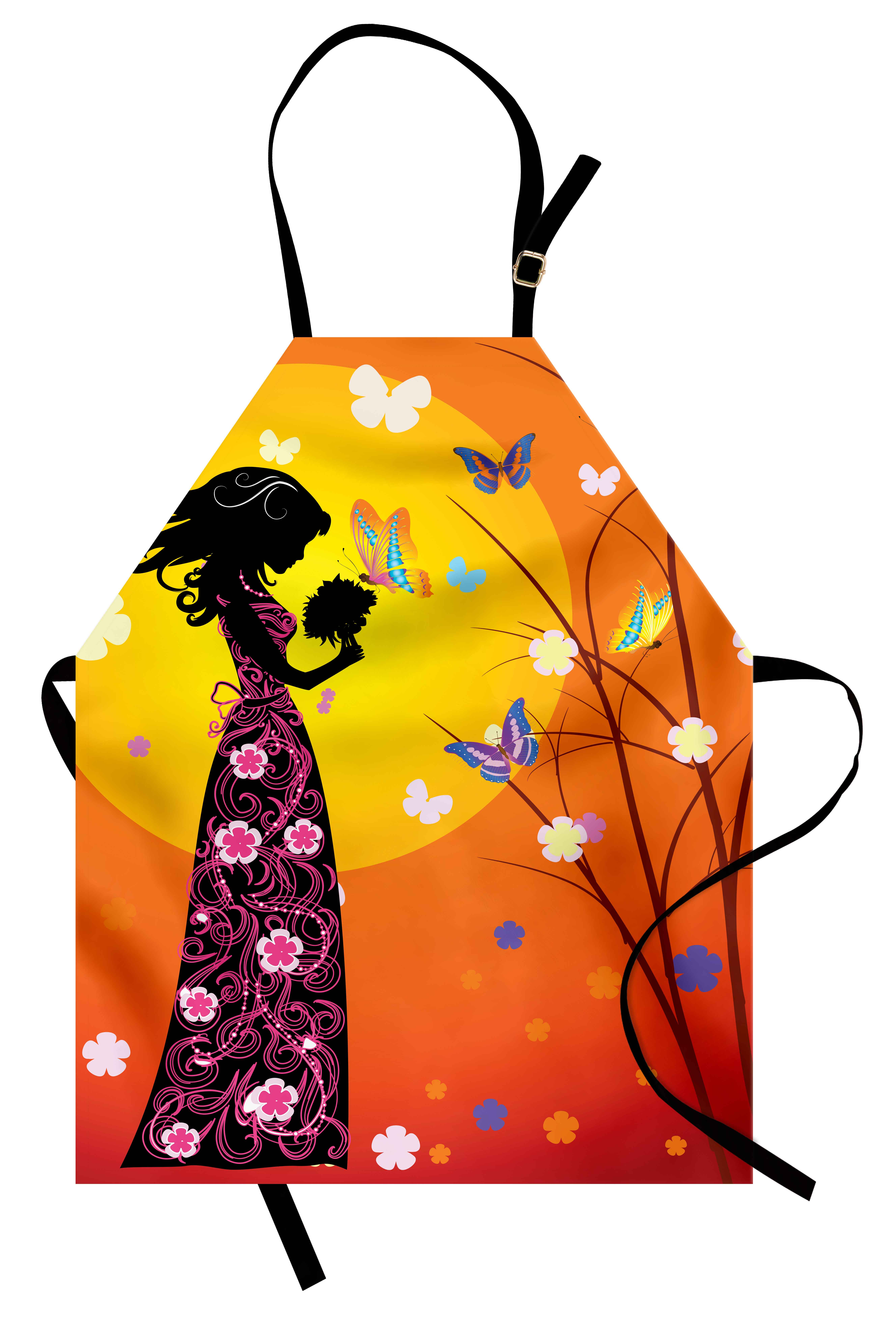 Teen Girls Apron Flowers Butterflies and Silhouette of Girl in Floral Dress...