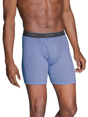 Fruit of the Loom Men's Stripe and Solid Boxer Briefs Extended Sizes, 3 Pack