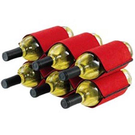 Felt Wine Bottle Rack Holds 6 Bottles Two Tone Red and Gray Green Wine Design
