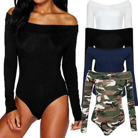 Womens Off Shoulder Bodysuit Leotard Bodycon Bandage Jumpsuit Romper Tops Blouse - Cheap Womens Bodysuits