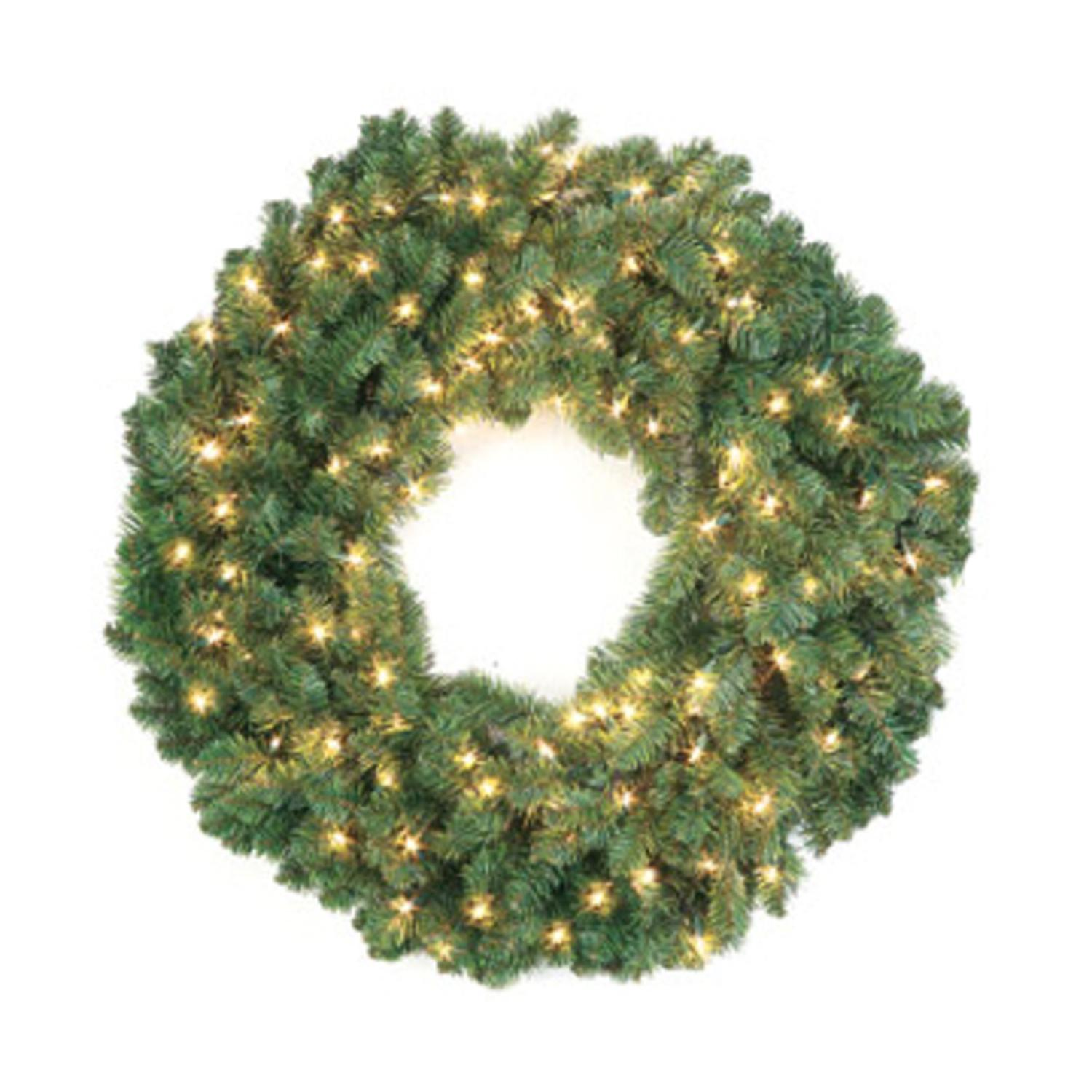 "Set of 2 Pre-Lit Douglas Fir Artificial Christmas Wreaths 24"" - Clear Lights"