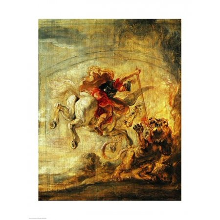 Bellerophon Riding Pegasus Fighting The Chimaera Canvas Art   Peter Paul Rubens  24 X 36