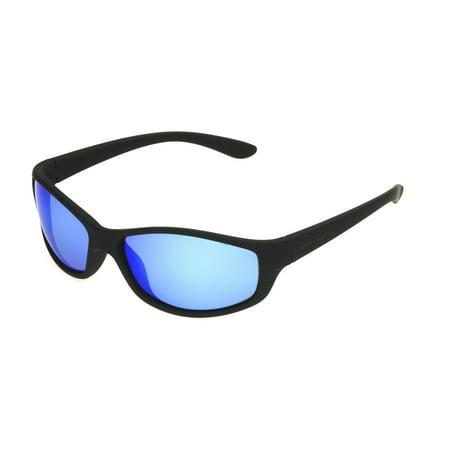 Foster Grant Men's Black Polarized Mirrored Wrap Sunglasses