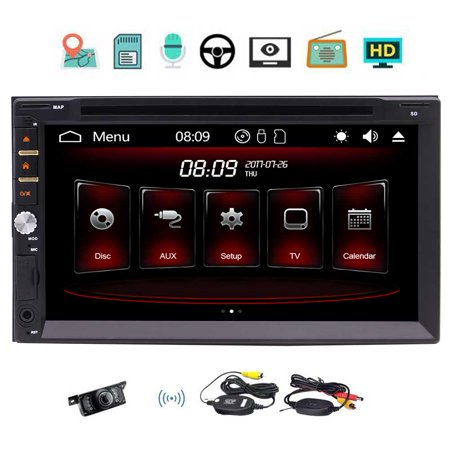 Backup camera includ!Eincar 7 Inch Capacitive Touch Screen Universal Double Din Car GPS Navigation In Dash GPS Car DVD Player FM/AM USB SD Bluetooth Radio Car Stereo 7 colors button backlight/3 types